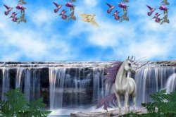 Unicorn on the waterfall