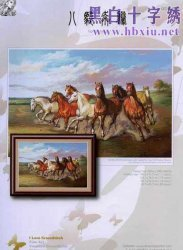 I love cross stitch OT-014 Eight Horses