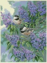 Dimensions 32258 Chickadees and Lilacs