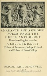 Amaranth and Asphodel Poems from the Greek Antology